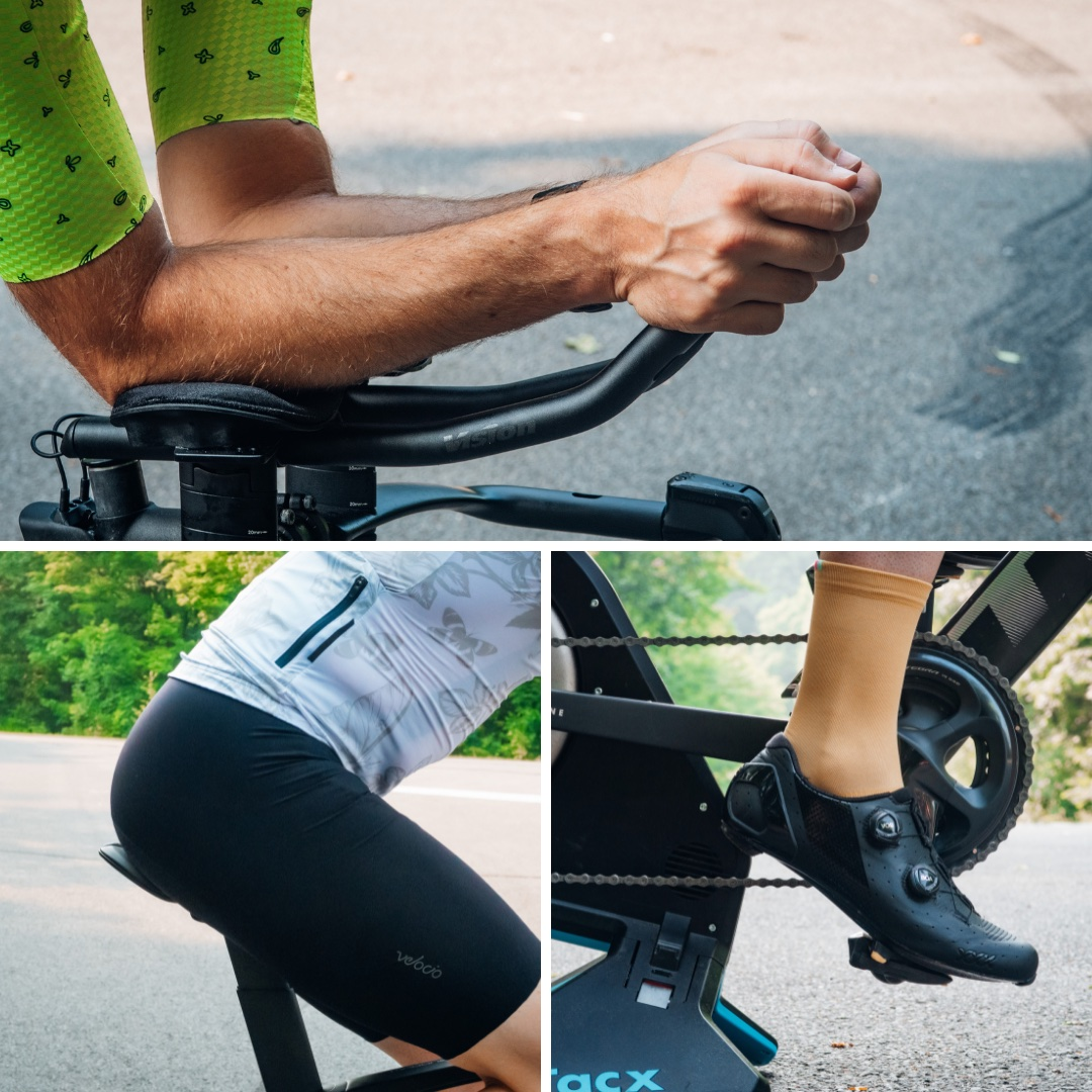 A collage of cyclist pressure points (hands, hips and feet)