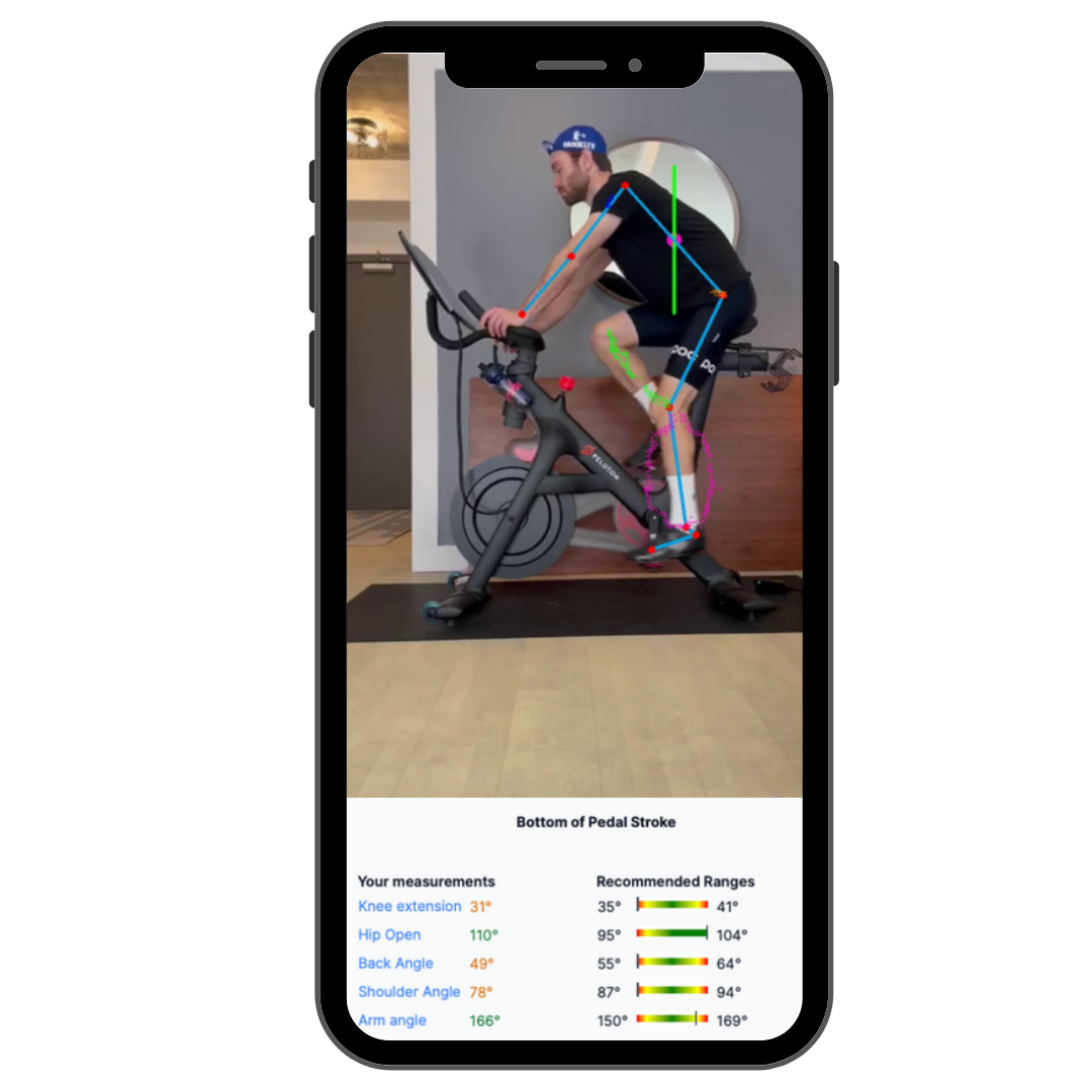 A phone showing MyVeloFit results