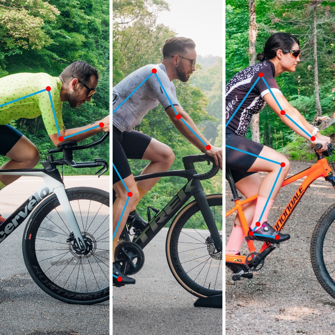 A collage of 3 cyclists with different riding styles